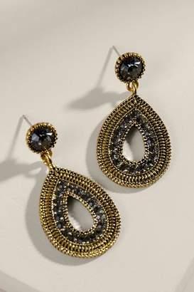francesca's Carmen Pave Crystal Teardrop Earrings - Black