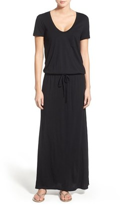 Women's Caslon Drawstring V-Neck Jersey Maxi Dress $69 thestylecure.com