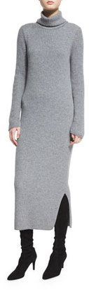 Alice + Olivia Gwen Long-Sleeve Ribbed Turtleneck Midi Dress, Charcoal $350 thestylecure.com