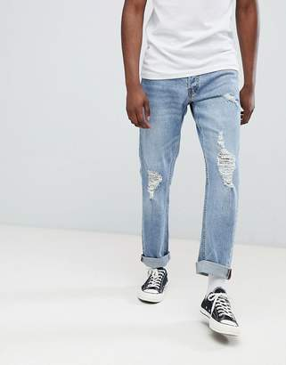 Jack and Jones Jeans In Slim Fit With Distressing