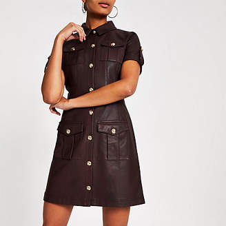 River Island Dark red faux leather shirt dress