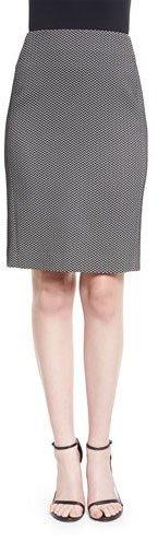 Armani Collezioni Chevron Jacquard Pencil Skirt, Black