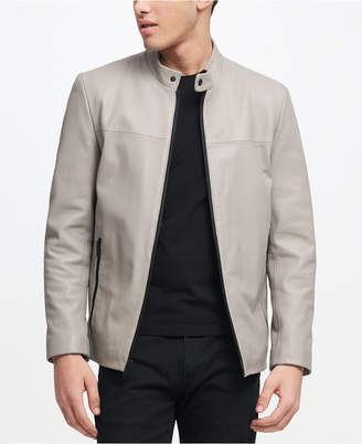 DKNY Men Leather Racer Jacket