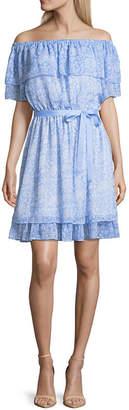 DISNEY PRINCESS Disney Princess Disney Princess Easter Short Sleeve Floral Fit & Flare Dress-Juniors