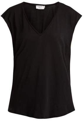 Frame V Neck Cotton Jersey T Shirt - Womens - Black