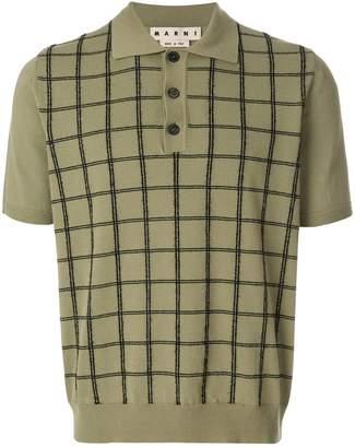 Marni grid check knitted polo shirt