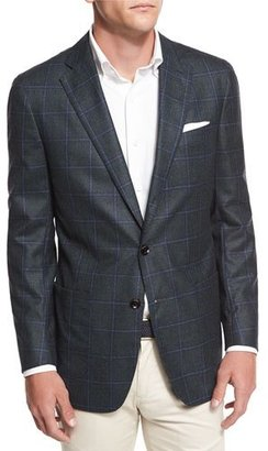 Peter Millar Hawthorne Windowpane Two-Button Sport Coat, Royal Emerald $898 thestylecure.com