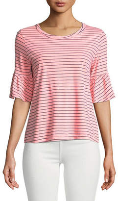 Splendid Striped Flutter-Sleeve Crewneck Tee