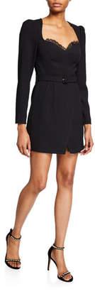 Self-Portrait Belted Crepe Sweetheart Mini Dress