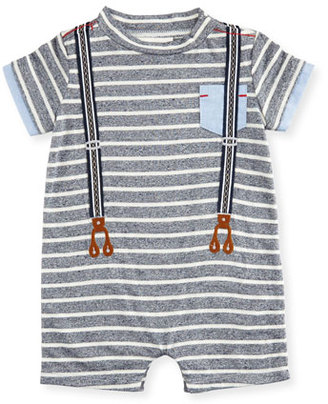 Miniclasix Striped Jersey Suspender Shortall, Blue/White, Size 3-9 Months $50 thestylecure.com