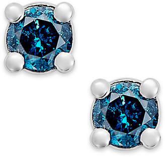Macy's 10k White Gold Blue Diamond (1/10 ct. t.w.) Round Stud Earrings