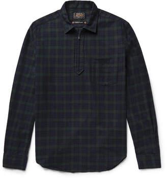 Beams Black Watch Checked Cotton-Flannel Half-Zip Shirt