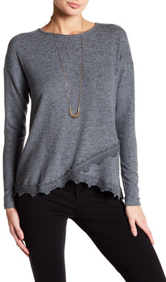 Bobeau Long Sleeve Lace Trim Sweatshirt $68 thestylecure.com