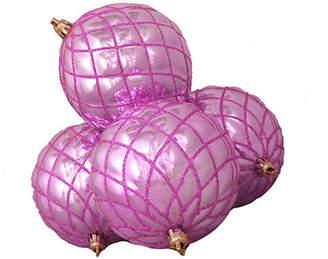Asstd National Brand 4ct Shiny Bubblegum Pink Diamond Shatterproof Christmas Ball Ornaments 3.75