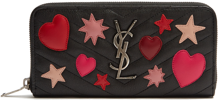 Saint LaurentSAINT LAURENT Collège heart-appliqué zip-around leather wallet