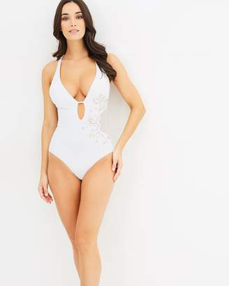 Jets Embroidered Plunge One-Piece