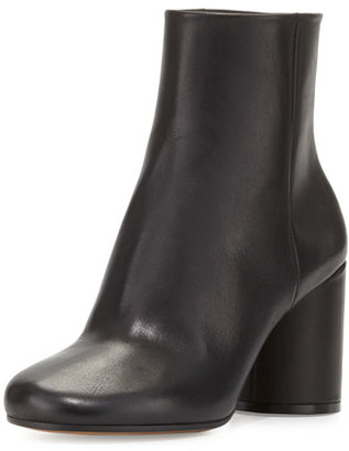 Maison Margiela Leather Cylinder-Heel Ankle Boot, Black $950 thestylecure.com