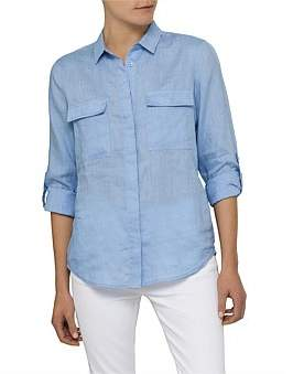 David Jones Long Sleeve Linen Shirt