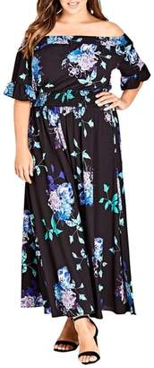 City Chic Suzu Floral Maxi Off the Shoulder Dress