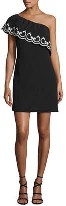 Ramy Brook Darla Lace-Trim One-Shoulder Mini Dress, Black/Ivory $445 thestylecure.com