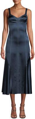 Cédric Charlier Sweetheart-Neck Sleeveless A-Line Satin Midi Dress w/ Piping