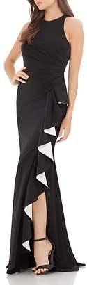 Carmen Marc Valvo Contrast Ruffle Gown