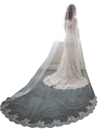 AliceHouse Women's Long Lace Edged Cathedral Length Wedding Bridal Veils 040B White