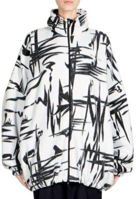 Balenciaga Abstract Print Fleece Jacket