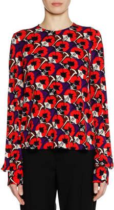 Marni Long-Sleeve Crewneck Printed Knit Top