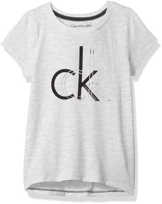 Calvin Klein Little Girls' Logo Tee, Flowy Light Grey Heather, 6