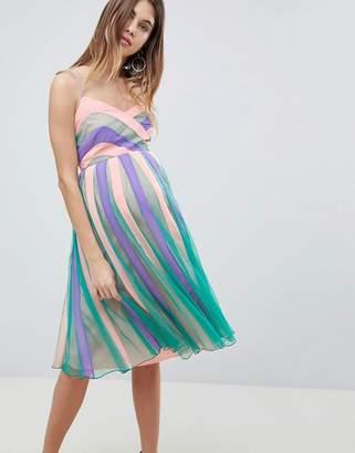 Asos Color Block Mesh Fit and Flare Midi Dress