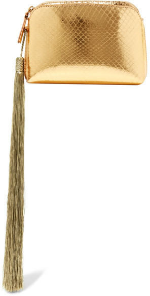 The Row - Wristlet Mini Tassled Metallic Ayers Clutch - Gold