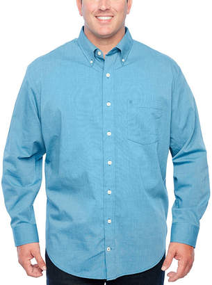 Izod Long Sleeve Button-Front Shirt-Big and Tall