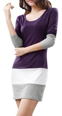 Unique Bargains Ladies Contrast Color Design Long Sleeve Scoop Neck Mini Dress