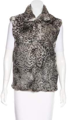 Adrienne Landau Rabbit Fur Collared Vest