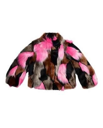 Imoga Greta Cropped Faux-Fur Jacket, Flamingo/Multicolor, Size 2-6 $152 thestylecure.com