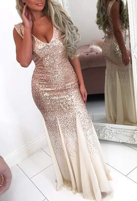 Pink Boutique Oscar Night Champagne Sequin And Chiffon Maxi Dress