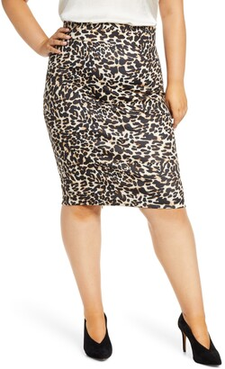 ELOQUII Animal Print Neoprene Pencil Skirt