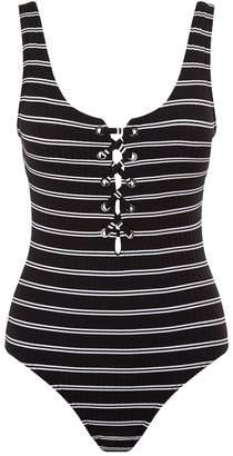 Seafolly Inka Stripe Lace Up Swimsuit