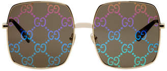 Gucci Gold GG Guccify Engraved Sunglasses
