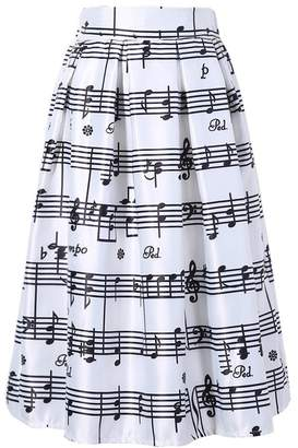 Dasbayla Women Elegant Piano Music Note Melody Printed High Waist Flared Skirt Party Dress