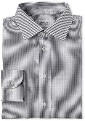 Armani Collezioni White & Black Check Modern Fit Dress Shirt