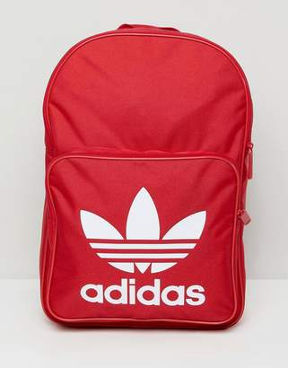 adidas Large Trefoil Logo Backpack In Red DQ3157