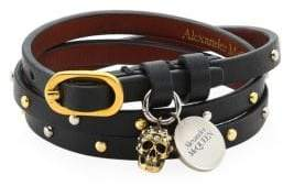 Alexander McQueen Studded Leather Charm Wrap Bracelet