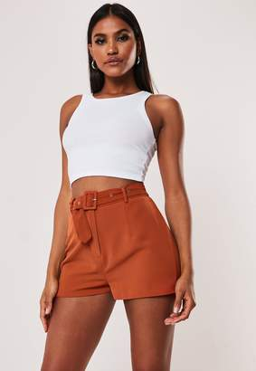Missguided Petite Terracotta Co Ord Tailored Shorts