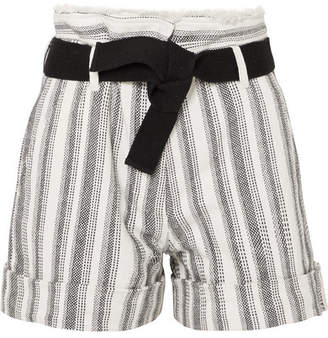 Vanessa Bruno - Ezed Belted Striped Cotton-canvas Shorts - White