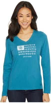 Life is Good Snowflake Flag Long Sleeve Crusher Vee Women's Long Sleeve Pullover