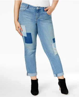 Style & Co Plus Size Curvy Patchwork Boyfriend Jeans, Only at Macy's $64.50 thestylecure.com