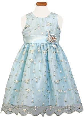 Sorbet Embroidered Floral Organza Party Dress