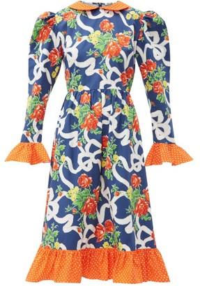 Batsheva Prairie Floral Print Cotton Midi Dress - Womens - Navy Multi